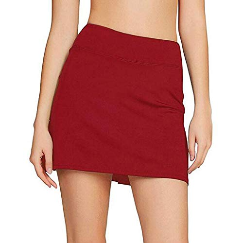 (FONMA Women's Casual Pleated Tennis Golf Skirt with Underneath Shorts Running Skorts Red)