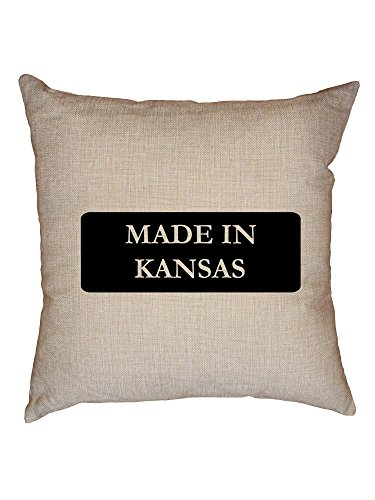 Hollywood Thread Hip Made In Kansas State Pride Decorative Linen Throw Cushion Pillow Case with Insert - Kansas Pillow