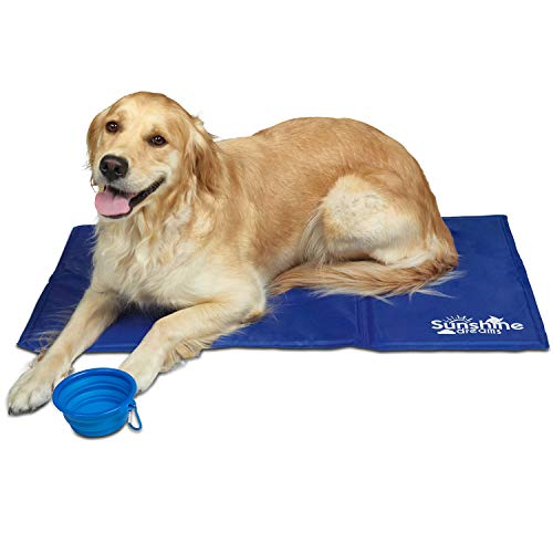 Cool Mat Dogs Blue Large - approx 90 x 50 cm with collapsible pet travel...