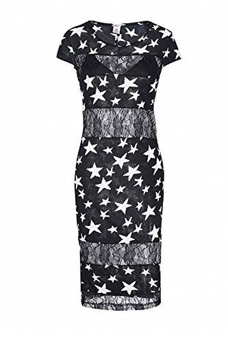 Damen Cap Sleeve Sterne Print aushöhlen Büro Midi figurbetonten Kleid