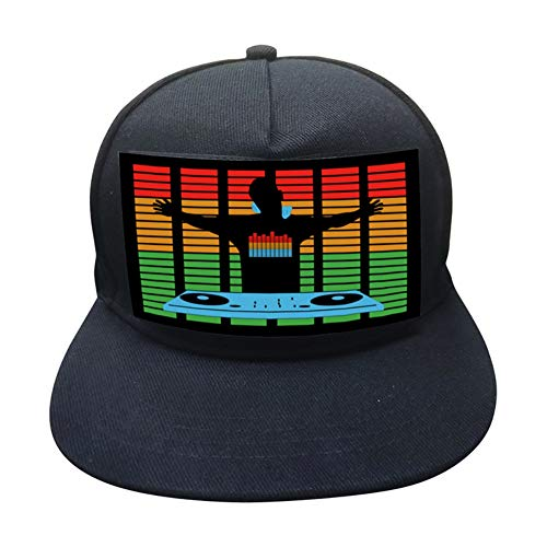 Zehui Trade DJ LED Flashing Hat Sound Activated Party Rave Light up Hat Cap for Halloween Music Festival -