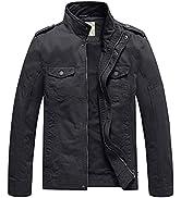 WenVen Men's Lightweight Cotton Jacket Casual Leisure Jackets Stand Collar Jackets Outdoor Windpr...