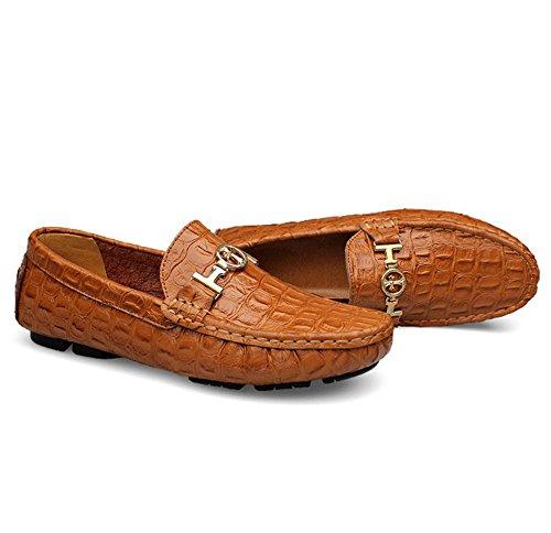 in HAOYUXIANG Marrone uomo grandi Colore Peas scarpe uomo dimensioni uk scarpe 36 Blu per pelle tempo scarpe dimensioni scarpe pigro da il libero di business rZrxwSCq