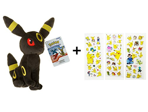 "Umbreon ~9"" Mini-Plush: Pokemon Evolution of Eevee Series with ONE random Pokemon Sticker Gift"