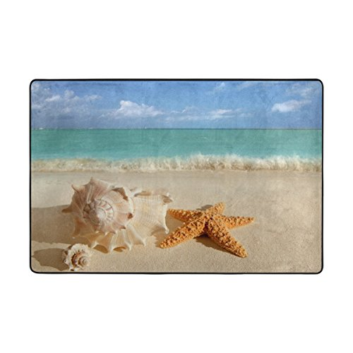 Naanle Summer Ocean Area Rug 4'x6', Sea Shells Starfish on Tropical Caribbean Beach Polyester Area Rug Mat for Living Dining Dorm Room Bedroom Home Decorative
