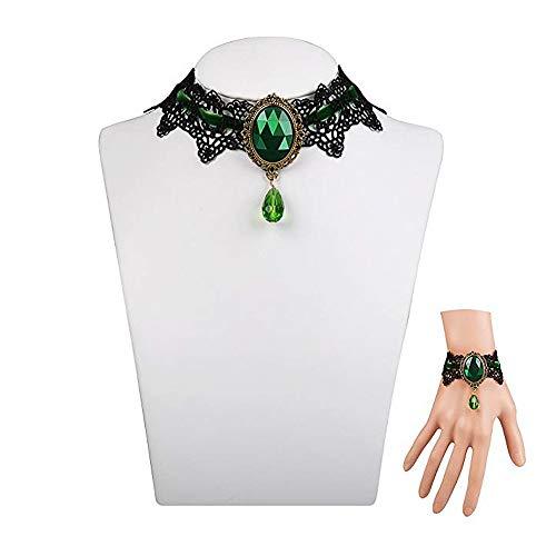 ThyWay Retro Handmade Lace Royal Court Vampire Choker Gothic Necklace Pendant Chain + Bracelet (Green) ()