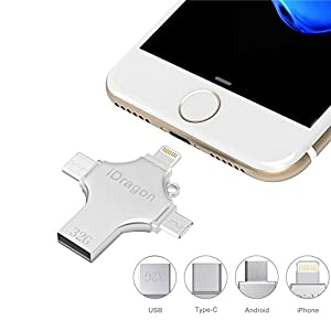Zonciny USB Flash Drive 32GB 4 in 1 Thumb Drive Portable External Storage Expansion Memory Stick for iPhone iPad Mac Android Type C and PC USB Flash Drive for Mobile Phone (32GB)