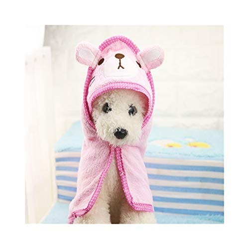 (PEHTEN Puppy Dog Towel Drying Towel for Dogs Bathrobe Absorbent Shower Dog Bath Towel Blankets Cleaning Pet Product Pink L)