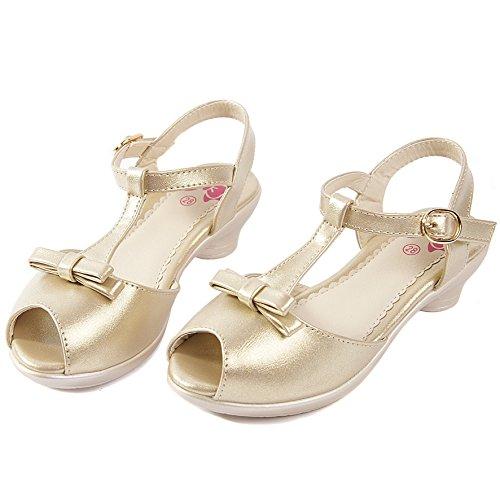 Deesha Adorable Open Mouth Golden Low Heels Dress Sandal Little Girl Shoes (11M, Golden)