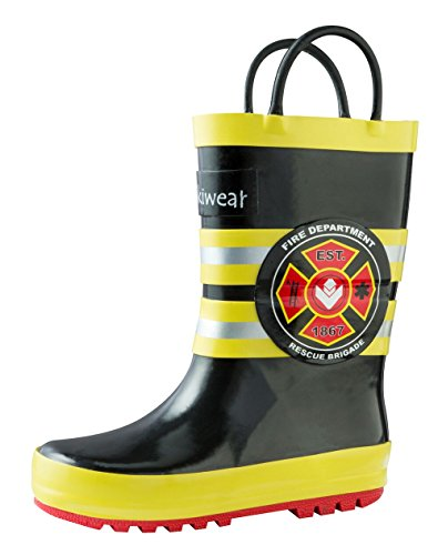 Oakiwear Kids Rubber Rain Boots with Easy-on Handles, Fireman Rescue, 9T US Toddler