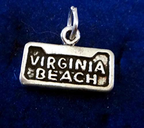 Sterling Silver 11x15mm says Virginia Beach Charm Vintage Crafting Pendant Jewelry Making Supplies - DIY for Necklace Bracelet Accessories by CharmingSS -