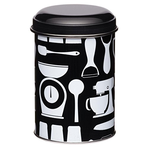 Metro Kitchen Black Patterned Storage Canister