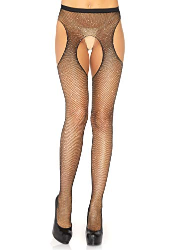 Leg Avenue Women's Hosiery Crystalized Fishnet Suspender Pantyhose, Black O/S ()