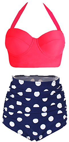 Amourri Womens Retro Vintage Polka Underwire High Waisted Swimsuit Bathing Suits Bikini,US 12-14=Tag Size 3XL,Rose+blue ()