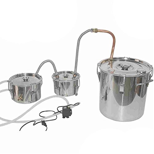 Seeutek Sealed 8 Gal Stainless Steel Water Alcohol Distiller Copper Tube 30L Moonshine Still Spirits Boiler Home Brewing Kit with Thumper Keg with Water Pump by Seeutek
