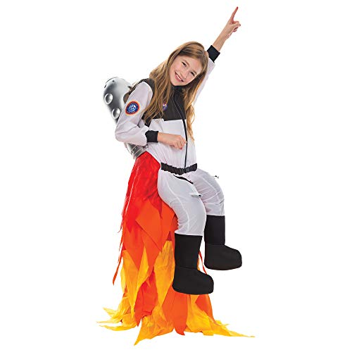 Girls Space Costumes (Spooktacular Creations Kids Flying Astronaut Suit Halloween Dress Up Roleplay Costume with Flame Pants and Jet Pack (8-10)