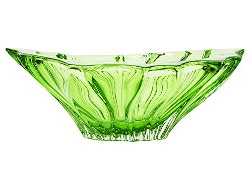 (Aurum Crystal AU52040, 13-Inch Green Plantica Crystal Fruit Bowl, Decorative Centerpiece Wedding Gift Platter, Clear Czech Crystal Deep Plate, Bohemian Crystal)