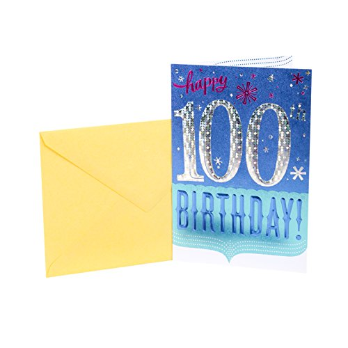 Hallmark 100th Birthday Greeting Card (100th with Confetti)
