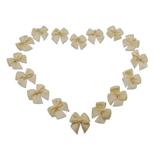 50Pcs Ivory Mini Ribbon Bows DIY Appliques Sewing On Pearl Ribbon Bows for Crafts (Ivory) ()