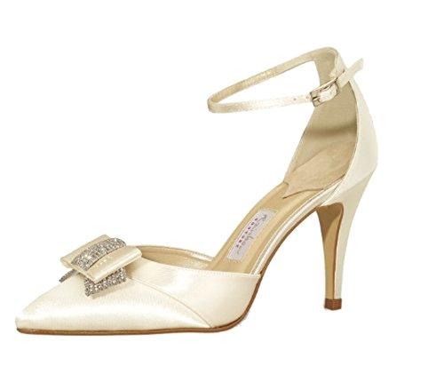 Elsa Coloured Shoes Brautschuh Avanti von Rainbow Couture/Pumps mit Riemchen, Schleife und Glitzersteinchen/Satin, 9 cm Absatz Creme