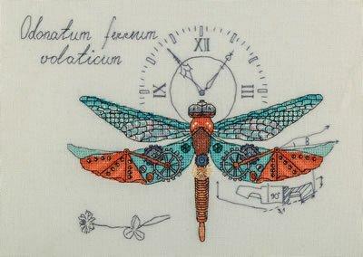 Motif horloge et libellule Kit de point de croix