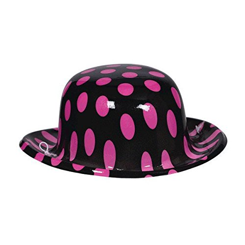 Nifty 50's Theme Party Polkadot Bowler Hat Accessory, Pink and Black, 6