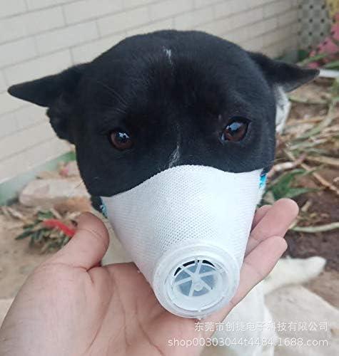TOHHOT Máscara de Mascota 3pcs mascarilla Boca Perro Cara Suave Filtro respiratorio para Mascotas Anti Polvo contaminación de Gases máscaras antiniebla neblina Blanco S