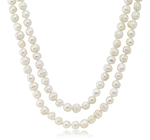 10-11mm Freshwater Cultured Endless Pearl Necklace Natural White Beads, 32