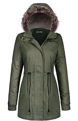 BodiLove Women's Mid Length Down Cotton Puffer Jacket with Faux Fur Trim Hood Olive L(JK2996)