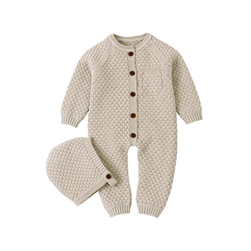 mimixiong Baby Newborn Knitted Sweater Romper Longsleeve Outfit Cotton Jumpsuit with Warm Hat Set Camel 70