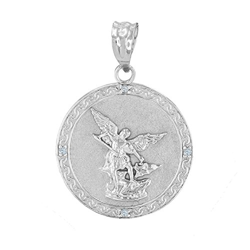 925 Sterling Silver Saint Michael The Archangel CZ Round Medal Pendant (1.14