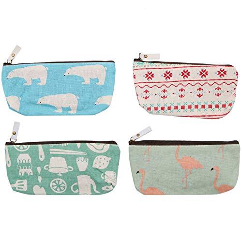 WSSROGY 4 Pack Multiple Storage Bag Pencil Case Holder – Canvas Designed Cute Animal Zipper Bag Student Pencil Pen Case Box Makeup Brush Bag Coins Bag Cosmetic Bag