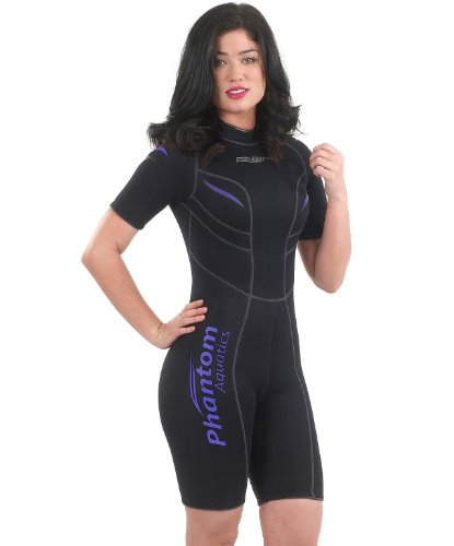 Phantom Aquatics Women's Marine Shorty Wetsuit, Black Twilight, Size 10 (Shorty Womens Wetsuit)