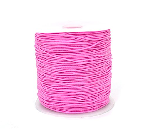 - 0.8mm 100M Stretch Elastic Cord String Rope Beading Threads Prayer Beads Elastic Thread for DIY Jewelry Making 1 Roll (Pink)
