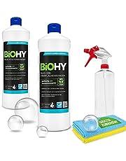 BIOHY Transparante zichtset + accessoires   glas- en oppervlakreiniger   raamreiniger   spuitfles   microvezeldoeken   duurzaam en schoon   effectieve reinigingsmiddelen   werkt bliksemsnel   krachtig