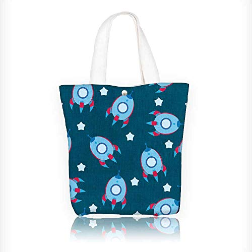 Stylish Canvas Zippered Tote Bag blue boyish wallpaper