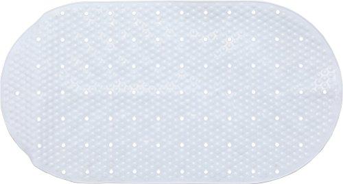 Melange Oval Shape Bathtub Mat Non Slip Anti Bacterial PVC, 27.25 x 15.5, White - Bathtub Shape