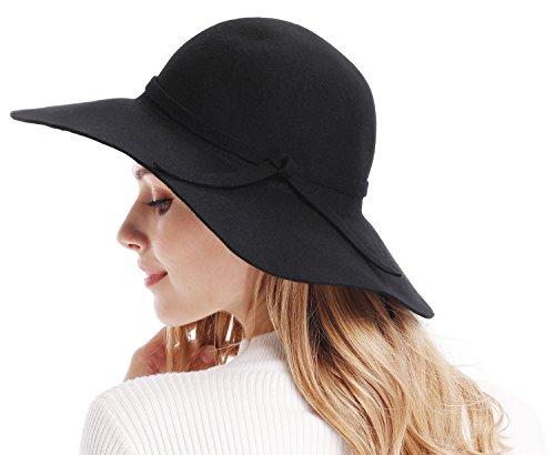 c29a88631944 Bienvenu Women's Wide Brim Wool Ribbon Band Floppy Hat Black ...