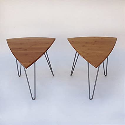 Pair Of Guitar Pick Side Tables Mid Century Modern Triangle Shaped End  Tables   New Atomic