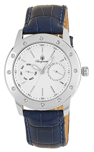 Burgmeister Women's Stainless Steel Japanese-Quartz Watch with Leather Calfskin Strap, Blue, 24 (Model: BM807-183