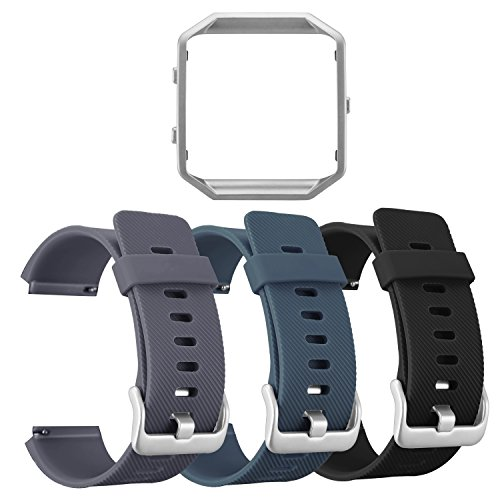 For Fitbit Blaze Bands,ESEEKGO 3 Pack Silicone Band with 1 Pcs Metal Frame for Fitbit Blaze Replacement Sport Fitness Accessory Wristband (No Tracker,Grey+Slate+Black,Silver Frame) by ESeekGo