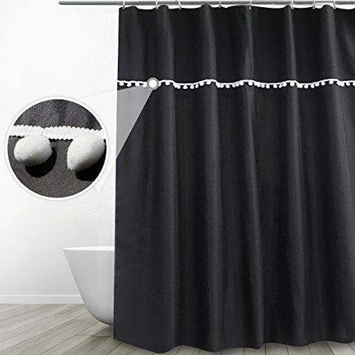 Eforgift Elegant Design Water Proof Shower Curtain Mildew Free Polyester Fabric Curtain for Bathroom with Anti-Rust Metal Grommets, Classic Solid Black with White Ball Fringe for Kids, 72