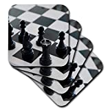 3D Rose Chess Game Board Black and White Soft
