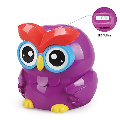 Chastep OWL Digital counting Money Bank/Box Piggy box Coins bank LCD screen Moneybox(Euro) (12.7 x 12.7 x 13.3 cm, Purple)