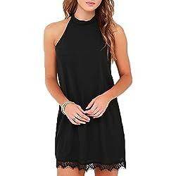 Fantaist Women's Halter Neck Open Back Lace Edge Elegant Cocktail Party Dress (M, FT610-Black)