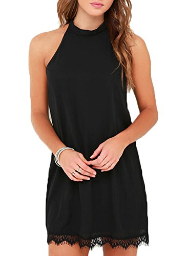 Fantaist Women's Summer Backless Halter Neck Lace Mini Short Casual Shift Dress (L, FT610-Black)