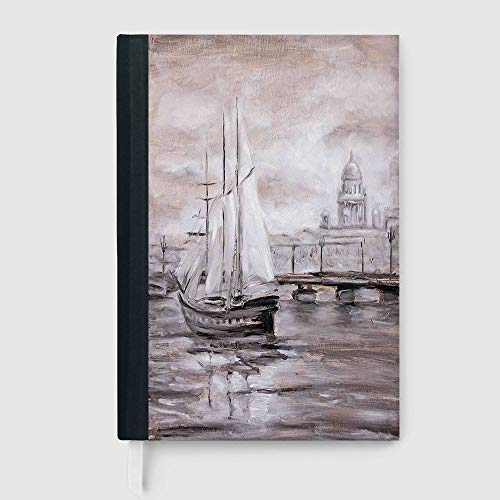 Country Decor,Business Notepad Daolin Paper,Retro Vintage Style Painting of a Sailing Boat Ship Moving by the Sea near City Town Art Print,96 Ruled Sheets,A5/8.24x5.73 in