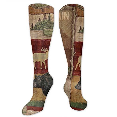 Cushioned Crew Socks for Men Women - Rustic Lodge Bear Moose Compression Socks Thermal Socks for Work, Basketball, Hunting, Soft Athletic Running Socks Tactical Socks