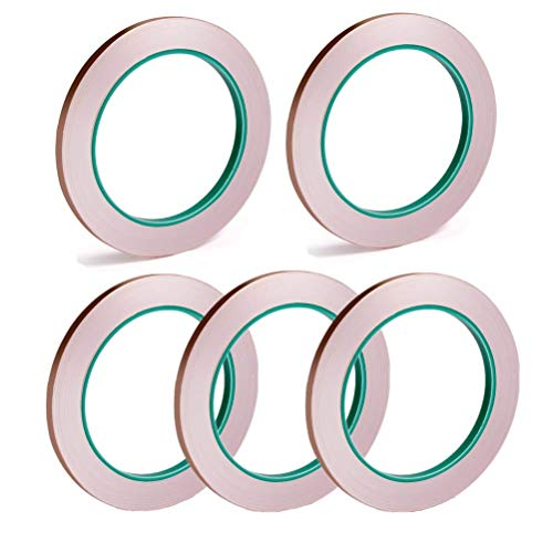 (WarmShine 5 Pack Double Conductive EMI Shielding Copper Foil Tape for EMI Shielding,Stained Glass,Soldering,Electrical Repairs,Slug Repellent,Paper Circuits,Grounding (Each 1/4 Inch X 11 Yds))
