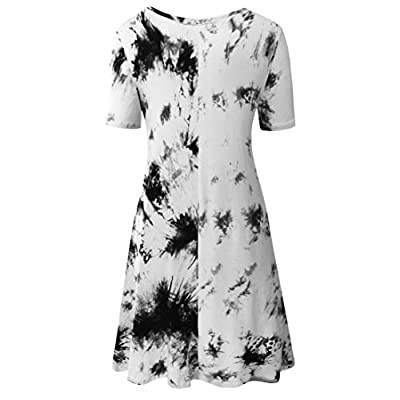Zero City Women's Casual Pockets Plain Flowy Simple Swing T-Shirt Loose Dress